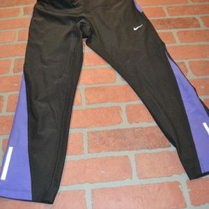 7606 Womens Nike Gym Pants Black Purple Size Fit